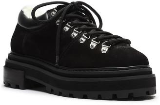 Schutz Lucille Suede Lace-up Platform Loafers