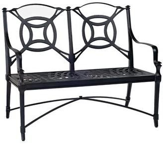 "Woodard Isla Garden Bench Woodard Cushion Color: No Cushion, Frame Color: Textured Black, Seat Height: 16.75"""