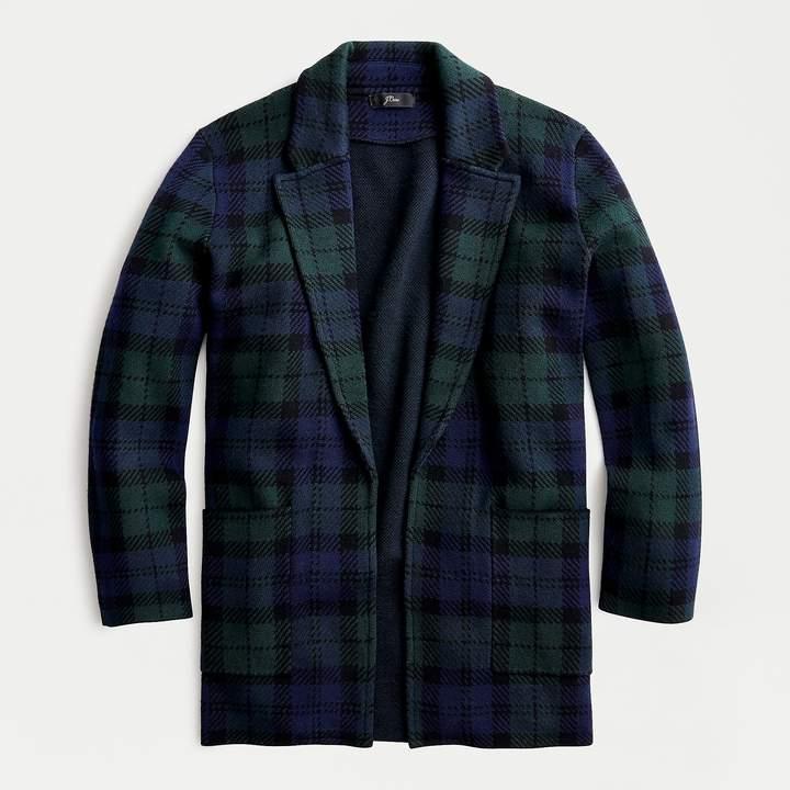 Sophie open-front sweater-blazer in Black Watch plaid