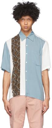 Aries White and Grey Snake Panel Hawaiian Shirt
