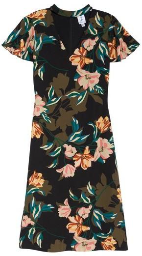 Julia Jordan Women's Print Choker Collar Midi Dress