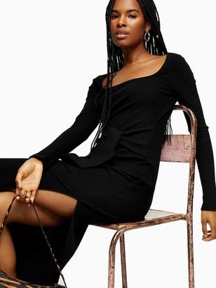 Topshop Square Neck Rib Bodycon Midi Dress - Black