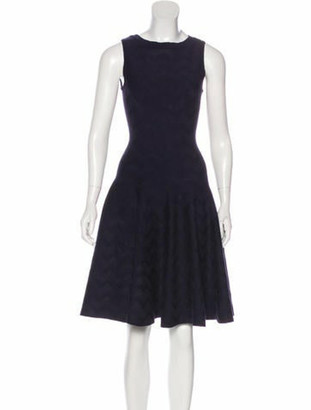 Alaia Fit and Flare Knee-Length Dress Navy