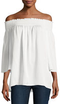 Theory Elistaire Off-the-Shoulder Modern Georgette Top, Ivory