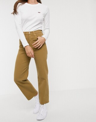 Levi's ribcage straight crop jean in beige
