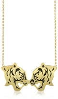 Kenzo Gold Plated and Black Lacquer Fighting Tiger Necklace