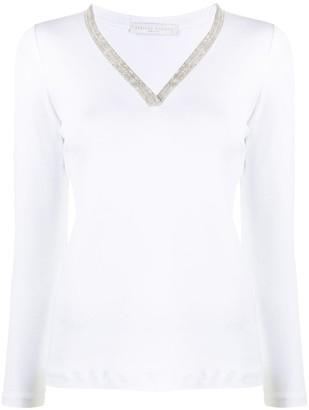 Fabiana Filippi woven V-neck T-shirt