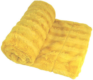 Boon Throw & Blanket Derby Double Sided Faux Fur Throw Blanket, Lemon