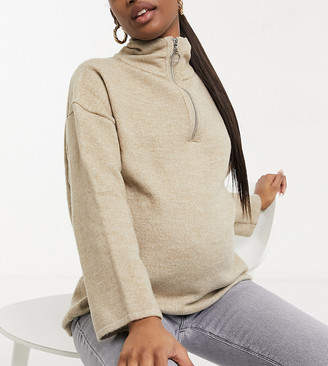 ASOS DESIGN Maternity jumper with zip through and wide sleeves in stone