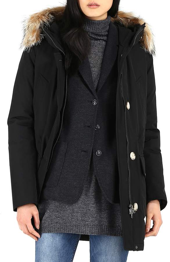 Woolrich High Collar Arctic Down Parka with Genuine Coyote Fur Trim