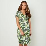 Joe Browns Leaf Print Knee Length Dress with V-Neck and Short Sleeves