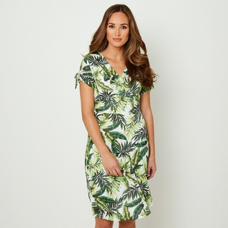 Joe Browns Leaf Print Knee Length Dress with V-Neck and Short Sleeves