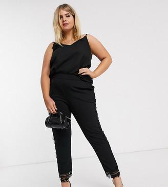 Junarose lace trim pants in black