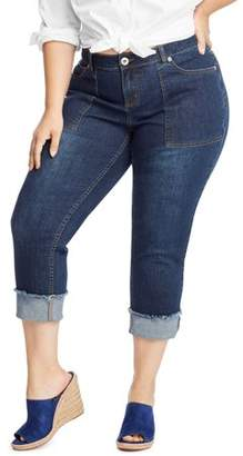 Hanes Just My Size Women's Plus Size Frayed Cuff Capri Jeans