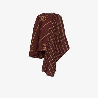 Gucci GG Motif Asymmetric Wool Cape