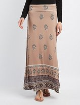 Charlotte Russe Foldover Waist Printed Maxi Skirt