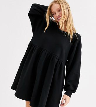 Monki mini smock dress in black