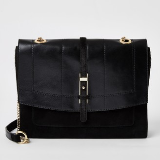 River Island Womens Black leather buckle front cross body bag