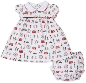 Kissy Kissy Cotton London Print Dress And Bloomers Set (0-18 Months)