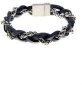 Steve Madden Braided Leather & \nChain Bracelet