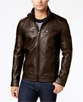 Michael Kors Men's Big and Tall Perforated Faux-Leather Jacket