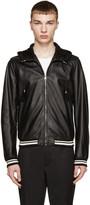 Dolce & Gabbana Black Hooded Leather Jacket