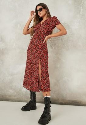 Missguided Red Floral Print Half Button Midi Tea Dress