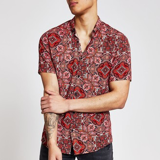 River Island Red aztec short sleeve slim fit shirt