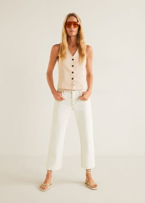 MANGO Relaxed frayed jeans