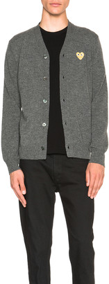 Comme des Garcons Cardigan with Gold Emblem in Grey   FWRD