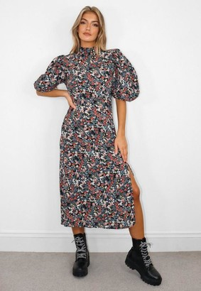 Missguided Black Floral Print High Neck Puff Sleeve Midi Dress