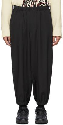 Yohji Yamamoto Black Wool Tab Gather Trousers