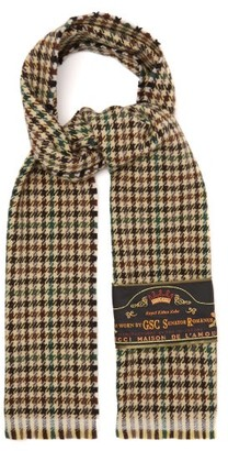 Gucci Houndstooth Wool Scarf - Mens - Brown
