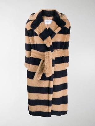 Max Mara Striped Pattern Wool Coat