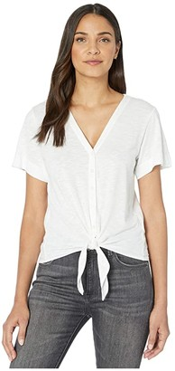 Lilla P Short Sleeve Tie Front Tee in Flame Modal (White) Women's Clothing