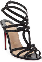 Christian Louboutin Renee Glitter Red Sole Sandals, Black