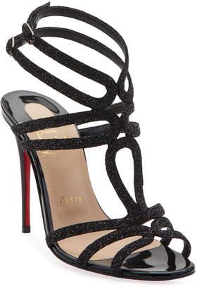 Christian Louboutin Renee Glitter Red Sole Sandals, Black