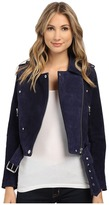 Blank NYC Blue Suede Moto Jacket in Deep Blue/Navy Women's Coat