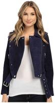 Blank NYC Blue Suede Moto Jacket in Deep Blue/Navy