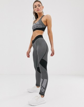 adidas Training logo leggings in grey