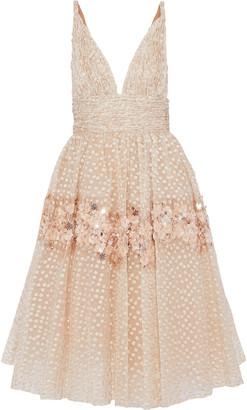 Carolina Herrera Floral-appliqued Fil Coupe Organza Dress