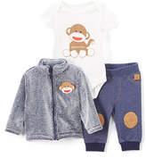 Baby Starters Frosted Blue Monkey Cardigan Set - Infant