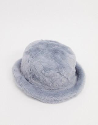 ASOS DESIGN fluffy faux-fur bucket hat in grey