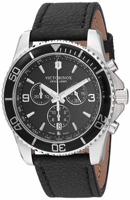 Victorinox Men's Stainless Steel Swiss Quartz Sport Watch with Leather Strap
