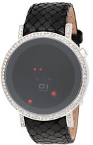 01 The One 01TheOne Women's ORS513R1 Odins Rage Crystal Accented Red LED Leather Watch