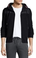 Moncler Hooded Zip-Up Sweater with Nylon, Black