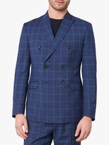 Jaeger Double Breasted Check Wool Suit Jacket, Navy