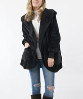 Lydiane Women's Non-Denim Casual Jackets BLACK - Black Faux-Fur Hooded Cocoon Jacket - Women