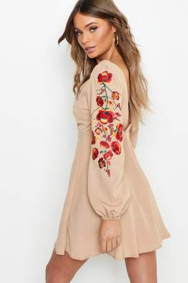 boohoo Embroidered Blouson Sleeve Skater Dress