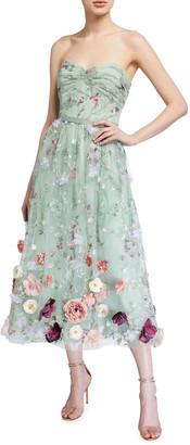 Marchesa Strapless Embroidered Draped-Bodice Midi Dress